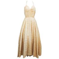 Ivory Sequin Halterneck Gown, 1950s