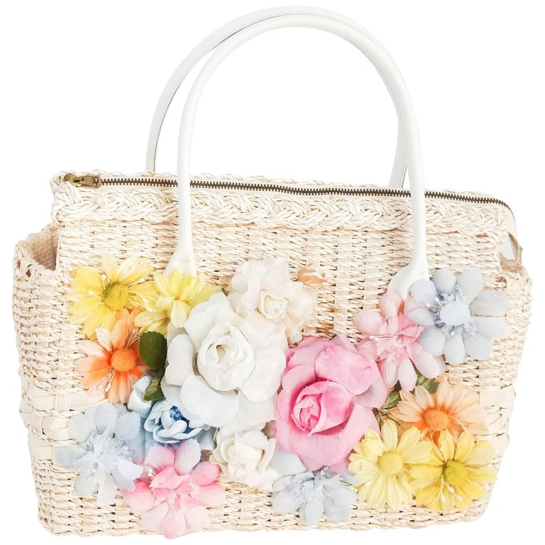 1970s Pastel Floral Straw Handbag
