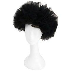 1980s Black Tulle Fashion Hat