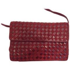 Bottega Veneta Red Woven Clutch