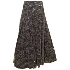 Armani Long Grey Tulle Skirt With Crystal Embroidery Sz38 (Us 2)