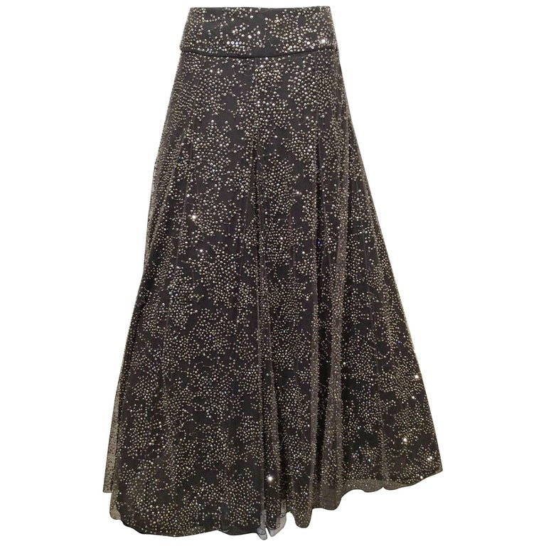 Armani Long Grey Tulle Skirt With Crystal Embroidery Sz38 (Us 2) For Sale
