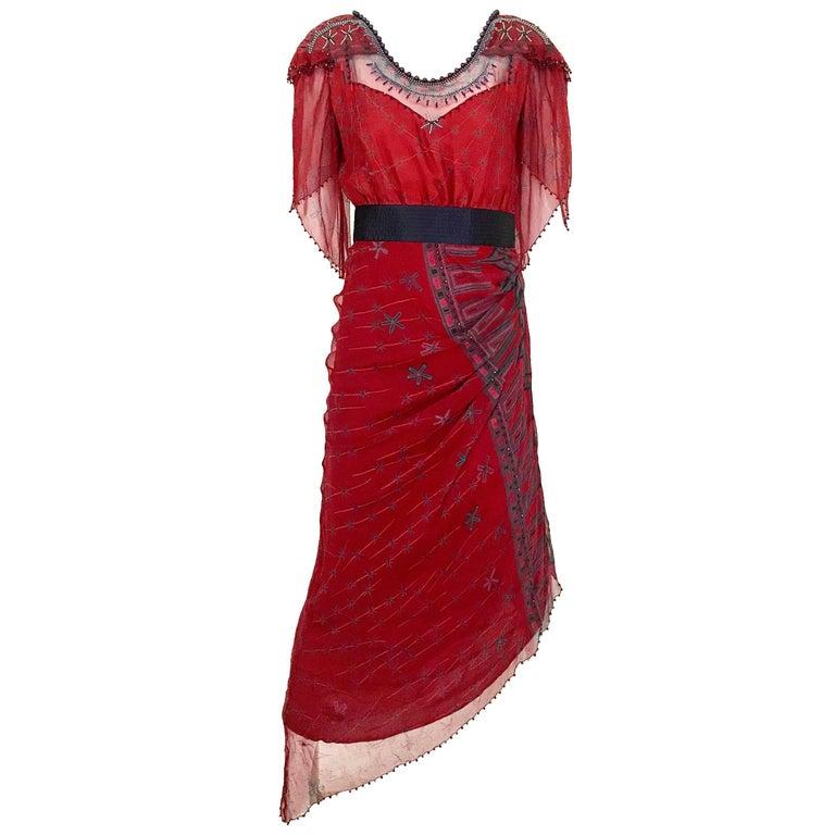 1980s Zandra Rhodes Red Silk Print Dress with Pearls