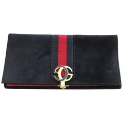 1970s Gucci Navy Blue Suede Wallet