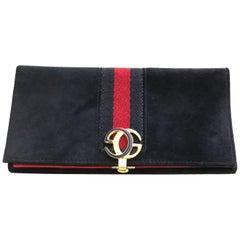 1970s Gucci Navy Blue Suede Wallet