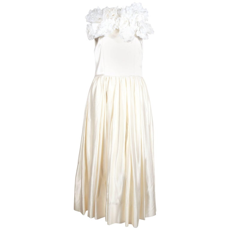 COMME DES GARCONS silk wedding gown with flower detail