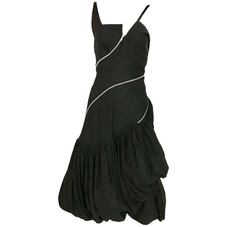 90s Black Silk Tafetta Spaghetti Straps Buble Dress