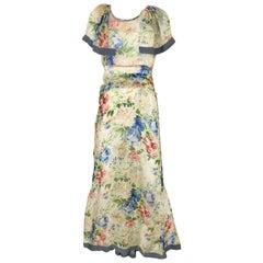 1930s Floral Print Silk Dress