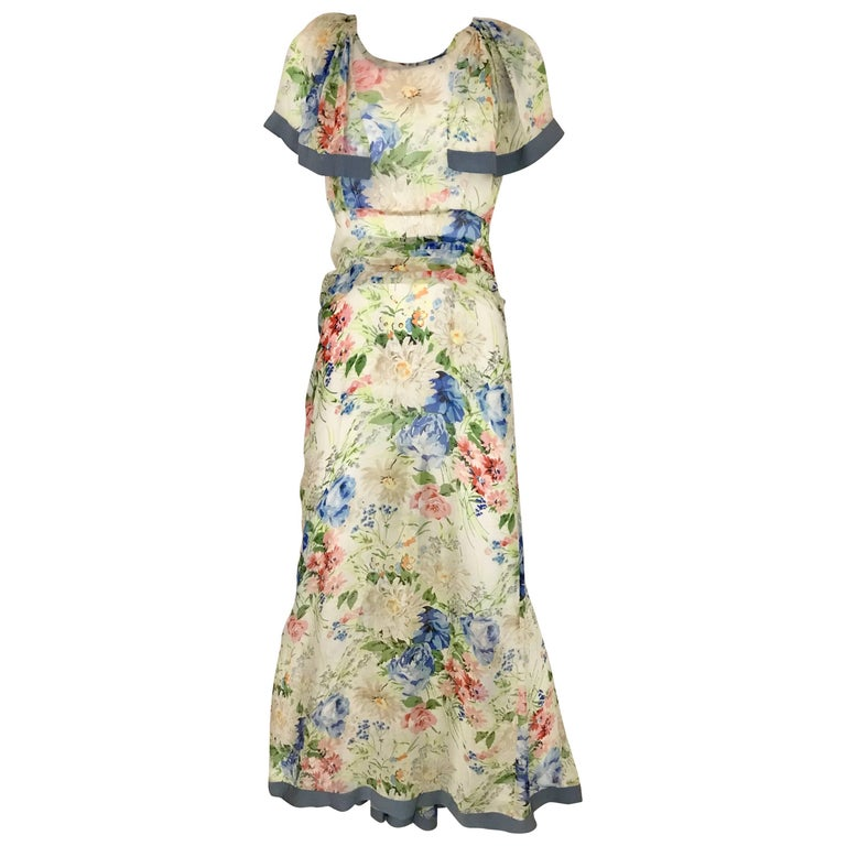 1930s Floral Print Silk Dress For Sale