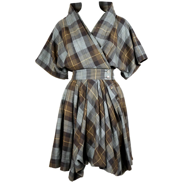 1980's ISSEY MIYAKE plaid cotton dress with wrap closure
