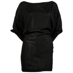 1980's AZZEDINE ALAIA black mini dress with open V shaped back