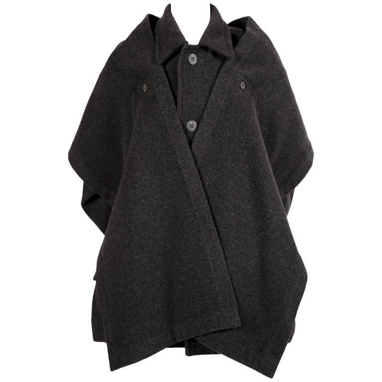 1980's ISSEY MIYAKE PLANTATION charcoal wool coat with scarf