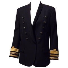 Balmain Black Double-breasted Uniform Inspired Jacket With Gold Trim Sz 38 (Us6)
