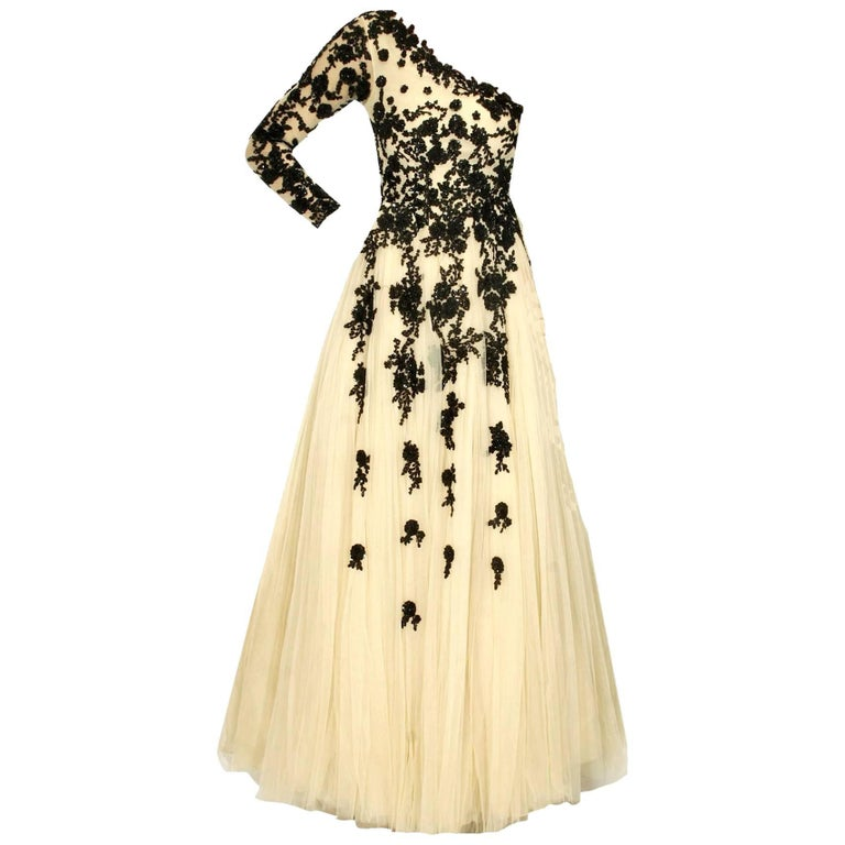 Hema Kaul Couture Asymmetric Embroidered Nude Fairytale Tulle Evening Gown