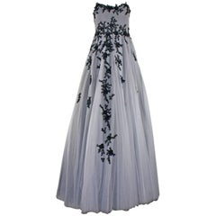 Hema Kaul Couture Embroidered Grey Fairytale Tulle Evening Gown