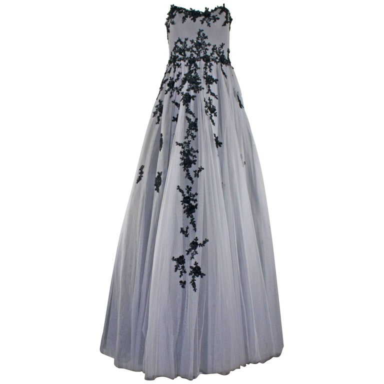Hema Kaul Couture Embroidered Grey Fairytale Tulle Evening Gown For ...