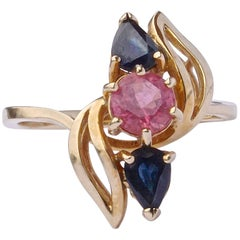 Vintage 14K Gold Tourmaline and Sapphire Ring