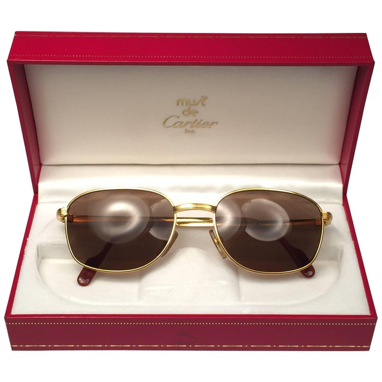 New Vintage Cartier Segur 54MM Gold Plated Brown Lens France 1990 Sunglasses