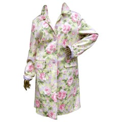 Cotton Pastel Rose Garden Floral Print Coat circa 1990s