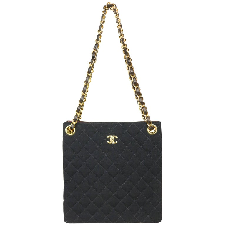 Chanel Black Quilted Cotton and Leather Gold Chain Shoulder Bag  For Sale