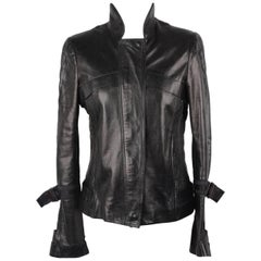 GUCCI Black Leather BIKER JACKET with Pintucked Panels