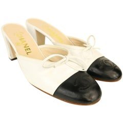 Chanel Bi toned White and Black Leather Slip On Heels