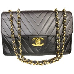Chanel Black Lambskin Chevron Stitch Maxi Flap Shoulder Bag