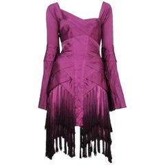 Famous Gucci by Tom Ford FW 2004 Purple Fringe Tassel Silk Asymmetric Dress