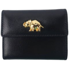 1980's Judith Leiber Black Leather Wallet With Elephant Charm