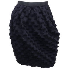C.1990 Saks Fifth Avenue Black Fringe Bubble Skirt