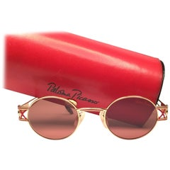Vintage Paloma Picasso Oval Gold Sunglasses Made in Germany 1980's