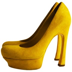 Yves Saint Laurent yellow suede pumps