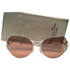 New Vintage Christian Dior D59 Silver Ultra Wide Optyl Germany Sunglasses