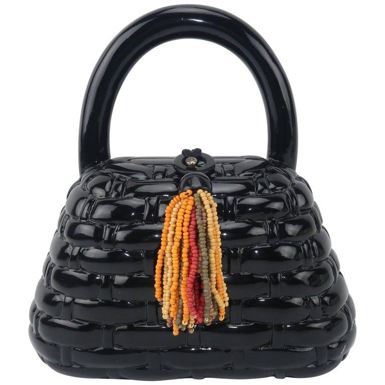 Vintage Timmy Woods Black Lacquer Wooden 'Basket' Handbag