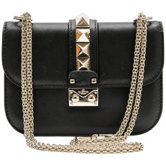 VALENTINO 'Rockstuds' Bag in Black Smooth Lamb Leather