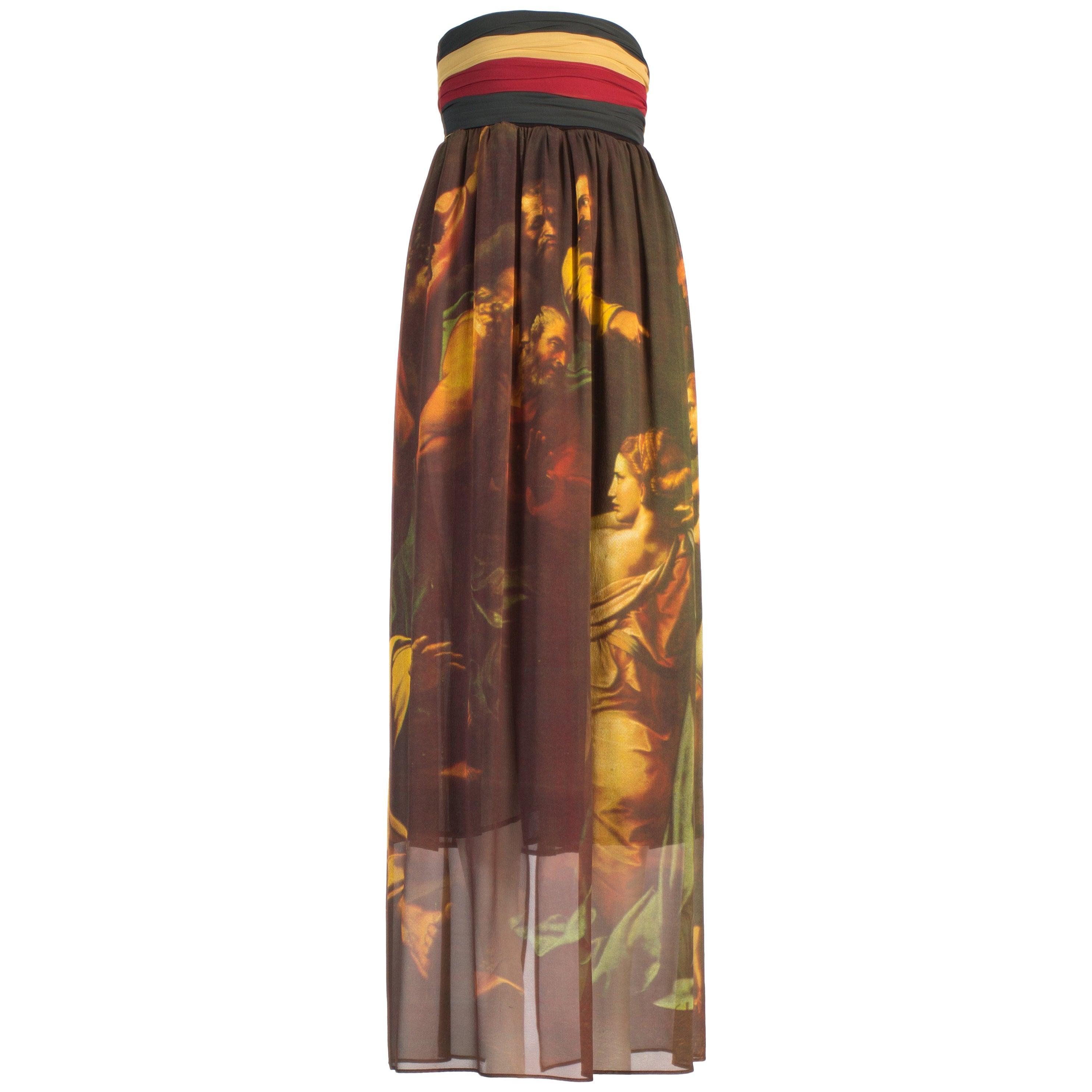 Dolce & Gabbana silk georgette Raphael painting print maxi skirt, ss 1990