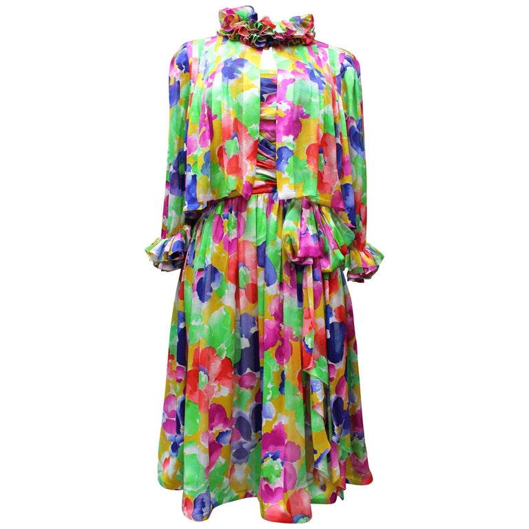 Jean Patou Haute Couture floral silk dress and jacket set For Sale