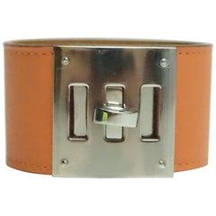 Hermes Coral Leather Kelly Dog Cuff-SHW-Q/2013