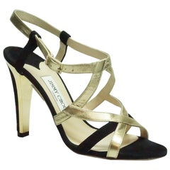 Jimmy Choo Black Suede and Gold Metallic Leather Strappy Heel - 39