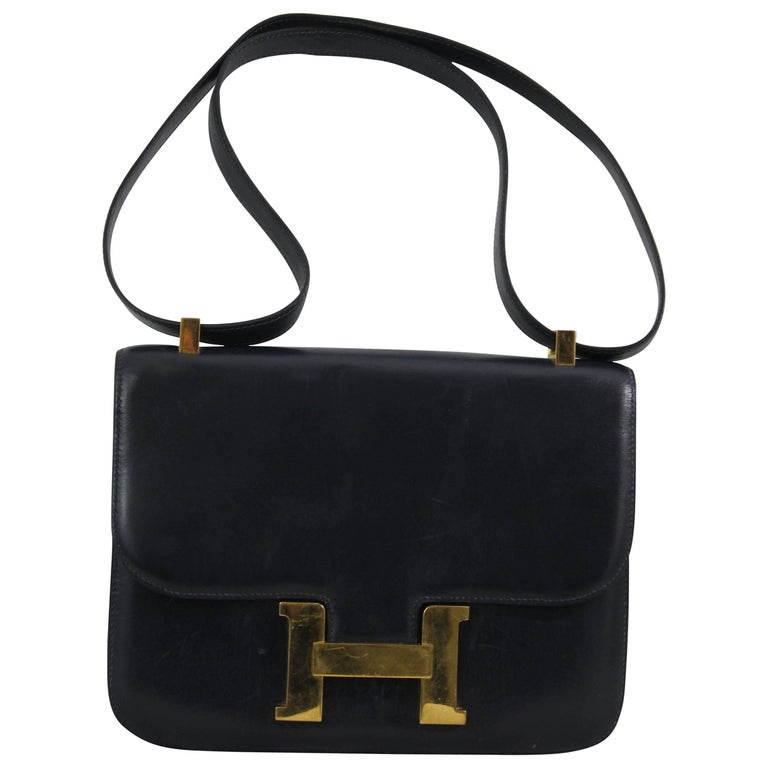 Hermes Vintage Constance Navy Bag in Navy leather and Golden Hardware