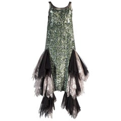 Alexander McQueen tulle, lace and sequin flapper dress, aw 2001