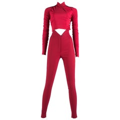 Dolce & Gabbana red three piece pant suit, c. 1990-1994