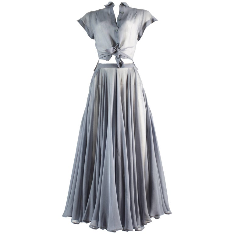 Azzedine Alaia powder blue organza circle skirt and blouse ensemble, ss 1990