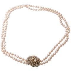Miriam Haskell Vintage Pearl Rope Necklace with Seed Pearl Clasp