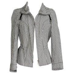 Giorgio Armani Black and White Check Drawstring Jacket 46