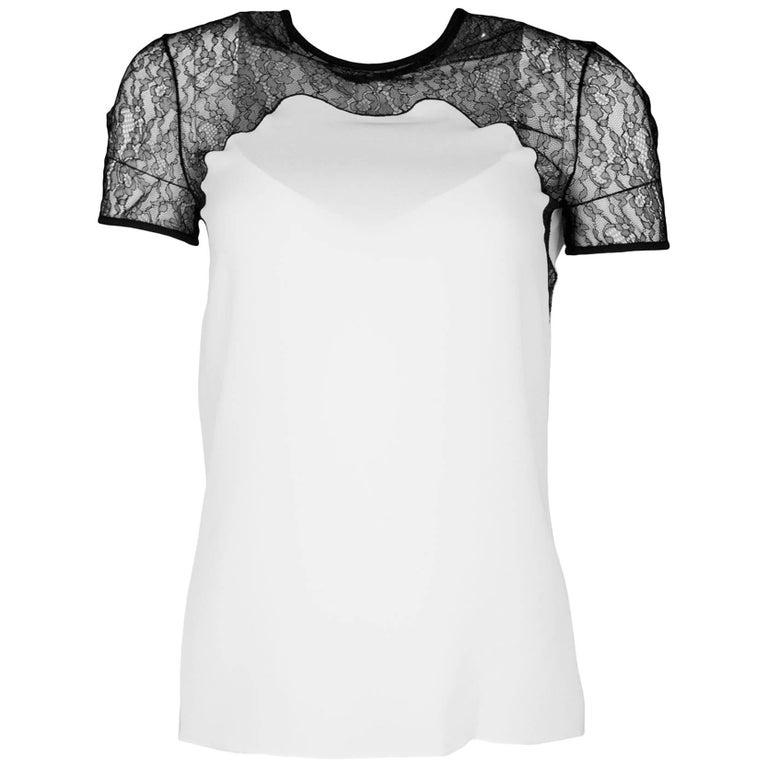 Michael Kors Black & White Silk Lace Top Sz 4 NWT