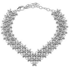 Giuseppe Zanotti New Silver Chain Link Evening Choker Collar Necklace in Box