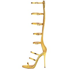Giuseppe Zanotti NEW Gold Patent Evening High Gladiator Sandals Heels in Box