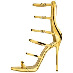 Giuseppe Zanotti NEW Gold Patent Evening Low Gladiator Sandals Heels in Box