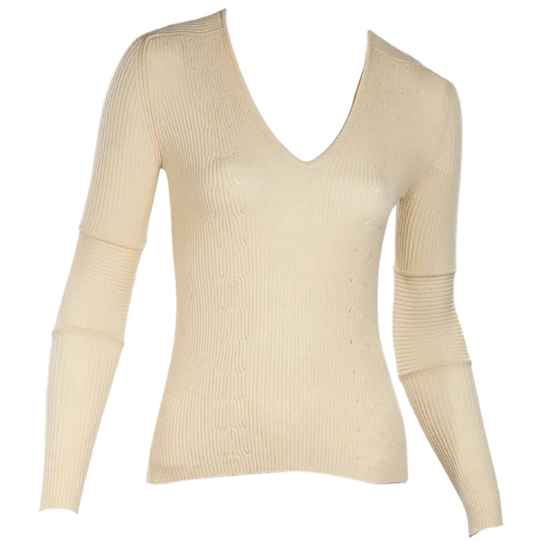Ivory Gucci Ribbed Knit Virgin Wool Top
